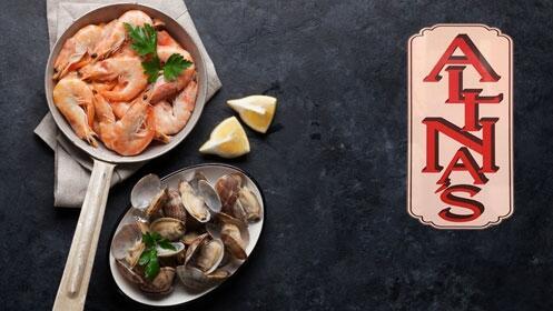 Cena de marisco con maridaje de vino en Alinas