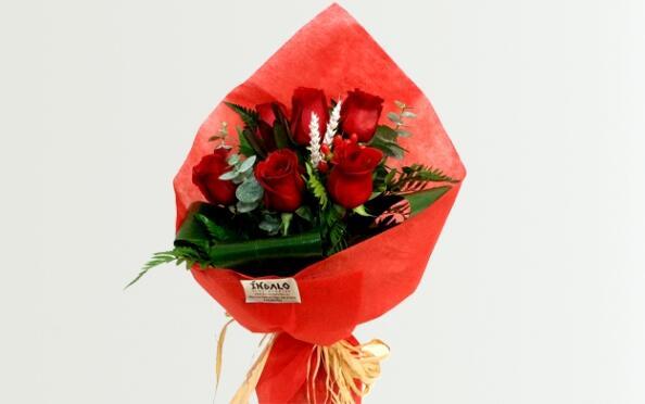 Ramo de rosas o planta de crisantemo