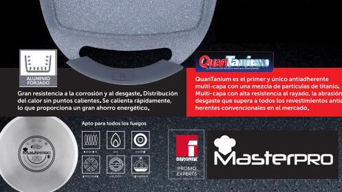 Plancha de asar de aluminio Masterpro