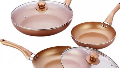 Set de 3 sartenes antiadherentes con recubrimiento de cobre