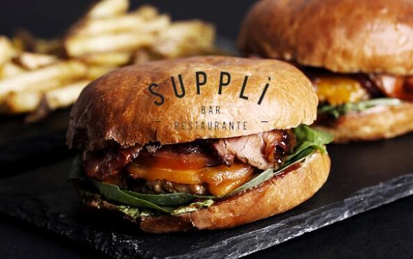 Menú deluxe: hamburguesa gourmet+ensalada+patatas+postre+bebida